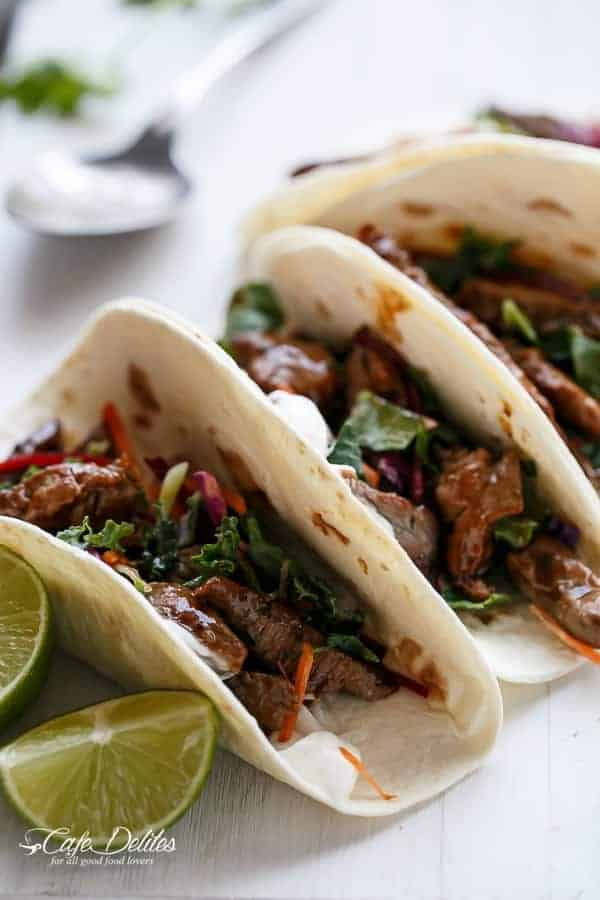 Korean Bulgogi Bbq Beef Tacos with Kale Slaw | https://cafedelites.com