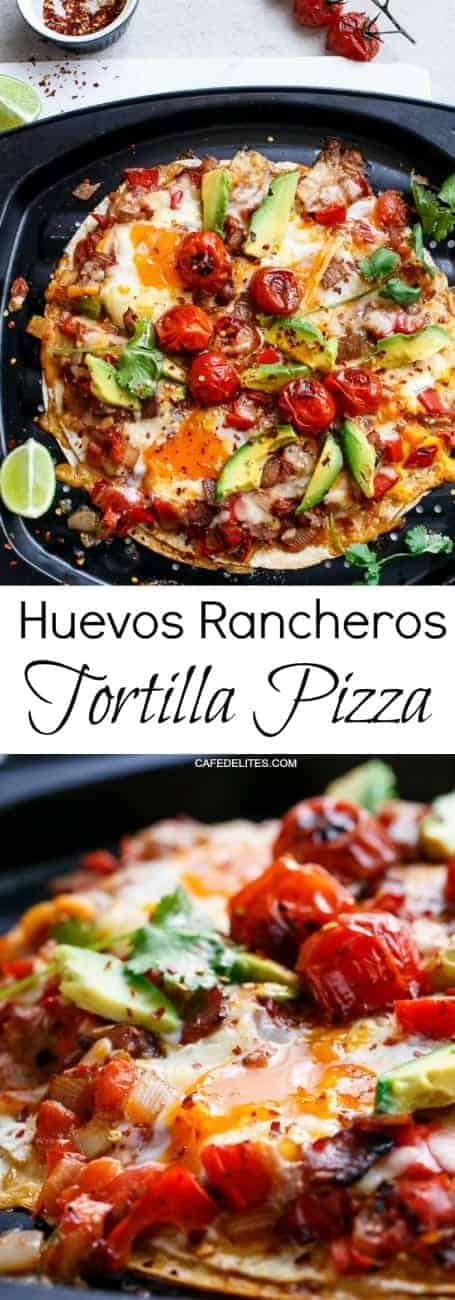Huevos Rancheros Tortizza (Tortilla Pizza) | https://cafedelites.com