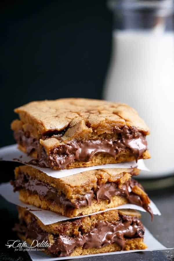 Nutella Stuffed Salted Caramel Blondies | https://cafedelites.com