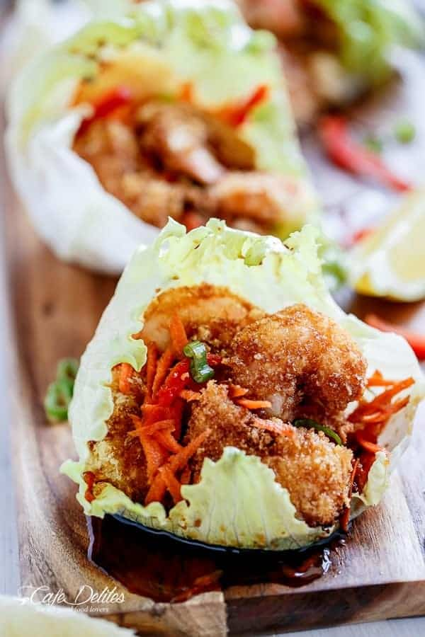 Oven Fried Tempura Batter Shrimp Lettuce Wraps with a Teriyaki Sauce