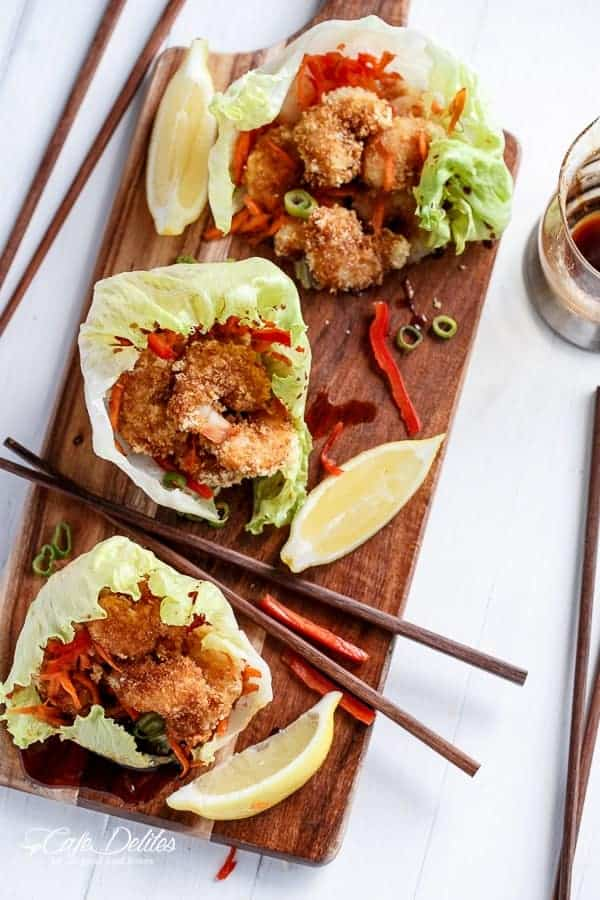 Oven Fried Tempura Batter Shrimp Lettuce Wraps with Teriyaki Sauce | https://cafedelites.com