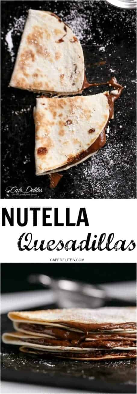 Simple Nutella Quesadillas in under 5 minutes! | https://cafedelites.com