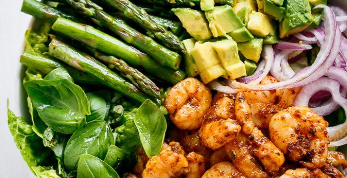 Blackened Shrimp, Asparagus and Avocado Salad with Lemon Pepper Yogurt Dressing | https://cafedelites.com