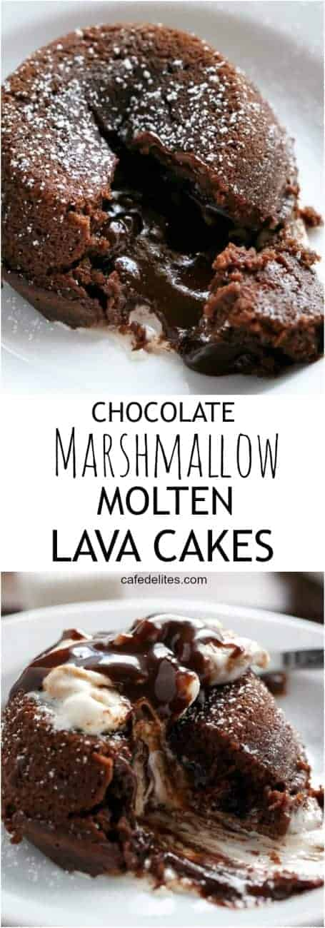 Hot Chocolate transformed into Lava Cakes with melted gooey marshmallow baked into the centre! All in a muffin pan and so easy to bake! https://cafedelites.com