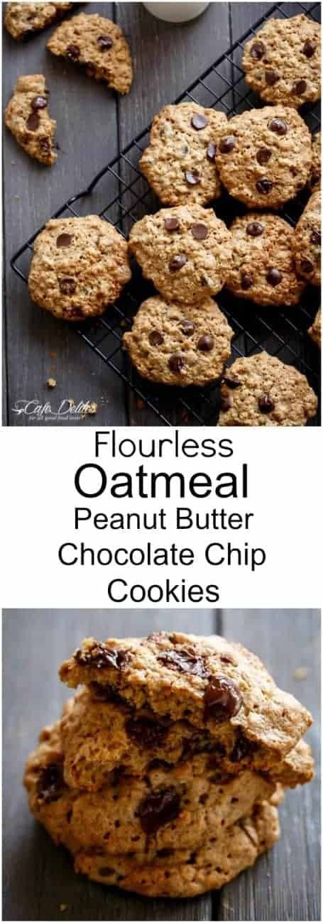 Flourless Oatmeal Peanut Butter Chocolate Chip Cookies ...