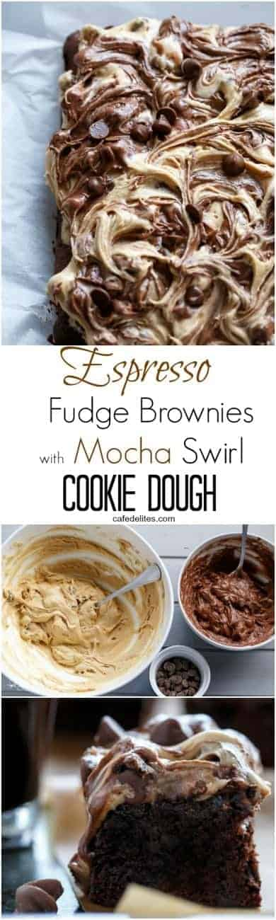 Espresso Fudge Brownies with Mocha Swirl Cookie Dough | https://cafedelites.com