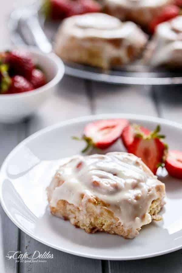 No Yeast Strawberries And Cream Cinnamon Rolls   https://cafedelites.com