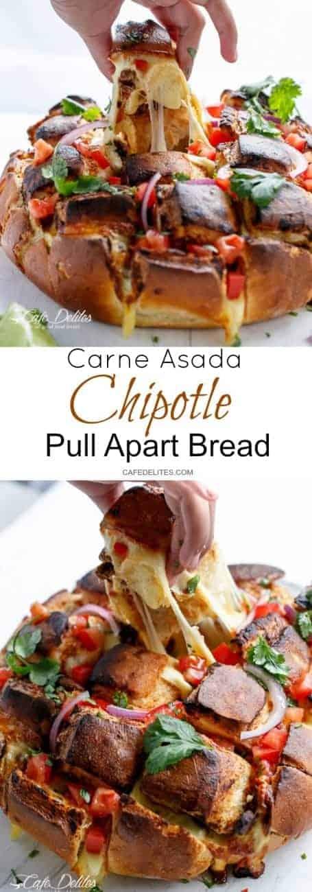 Carne Asada Chipotle Pull Apart Bread | https://cafedelites.com