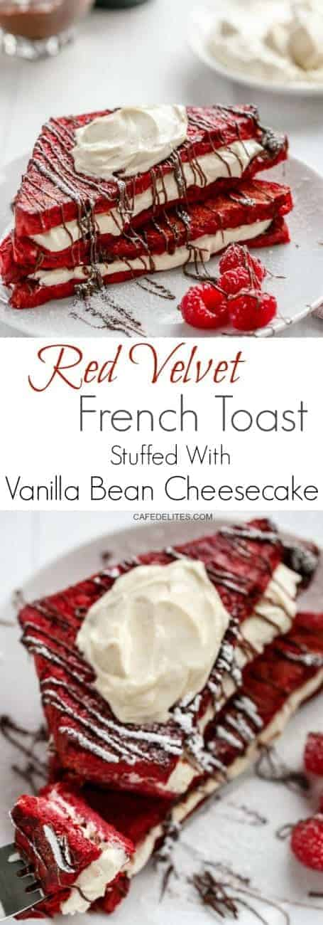 Red Velvet French Toast with Vanilla Bean Cheesecake Filling | https://cafedelites.com