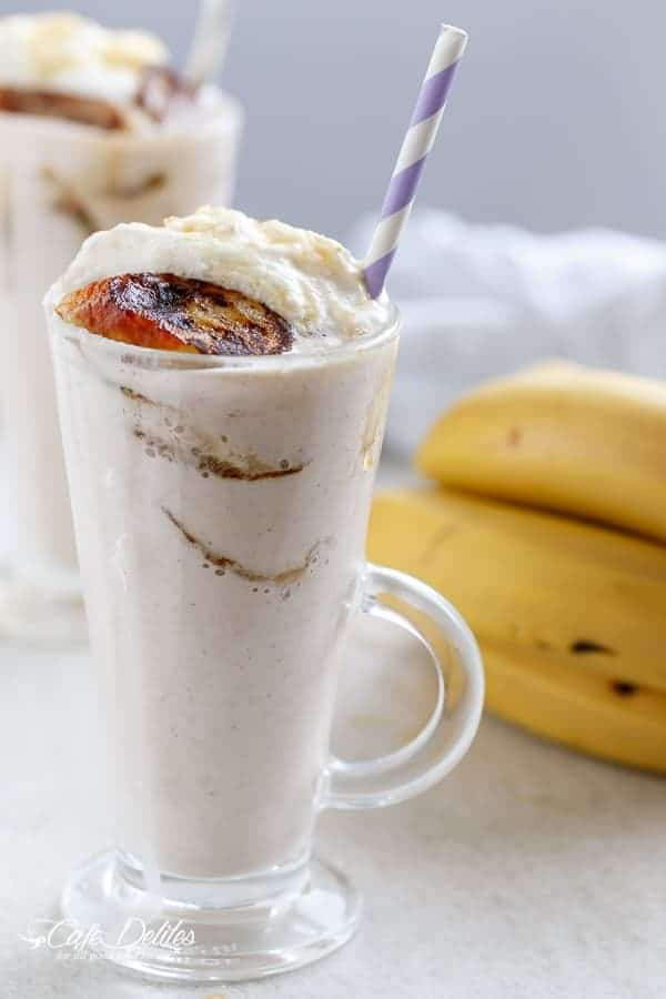Banana Cream Pie Breakfast Smoothie with Fried Honey Bananas   https://cafedelites.com