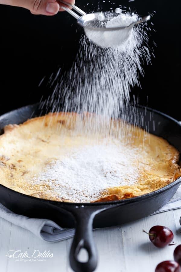 Chocolate-Cherry German Pancake (or Dutch Baby Pancake)   https://cafedelites.com