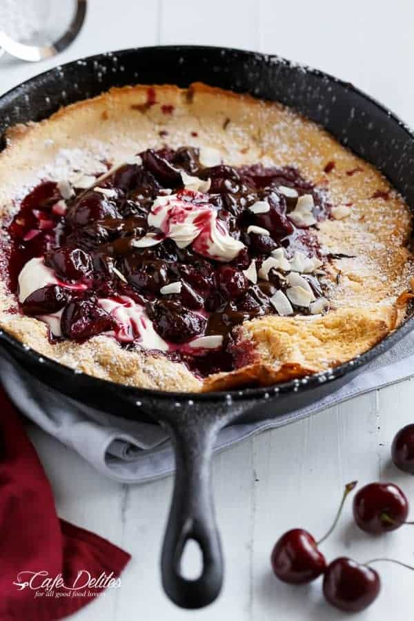 Chocolate-Cherry German Pancake (or Dutch Baby Pancake) | https://cafedelites.com