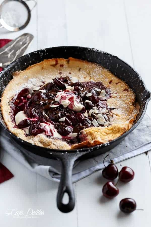 Chocolate-Cherry German Pancake (or Dutch Baby Pancake)-1