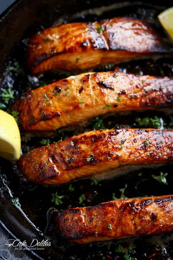 Grilled Browned Butter Honey Garlic Salmon | https://cafedelites.com