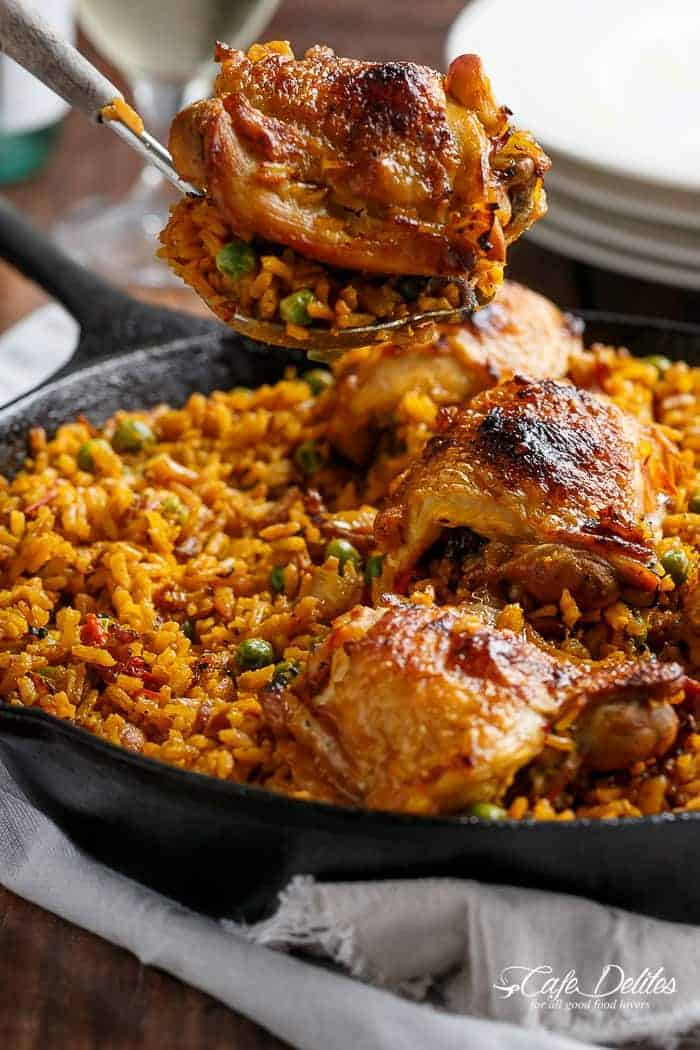 One Pan Crispy Spanish Chicken and Rice (Arroz Con Pollo) | https://cafedelites.com
