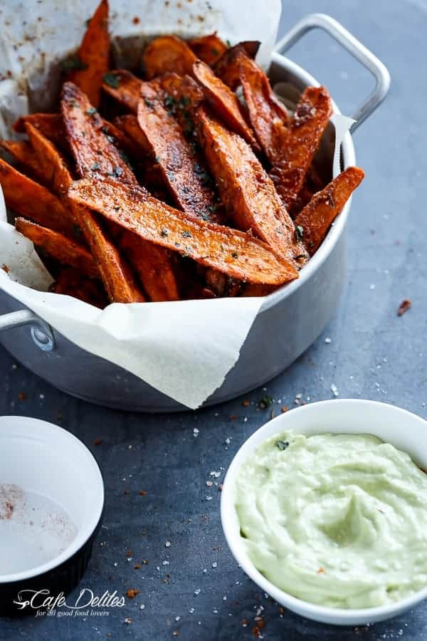 Crispy Sweet Potato Wedges with Garlic Avocado Aioli | https://cafedelites.com