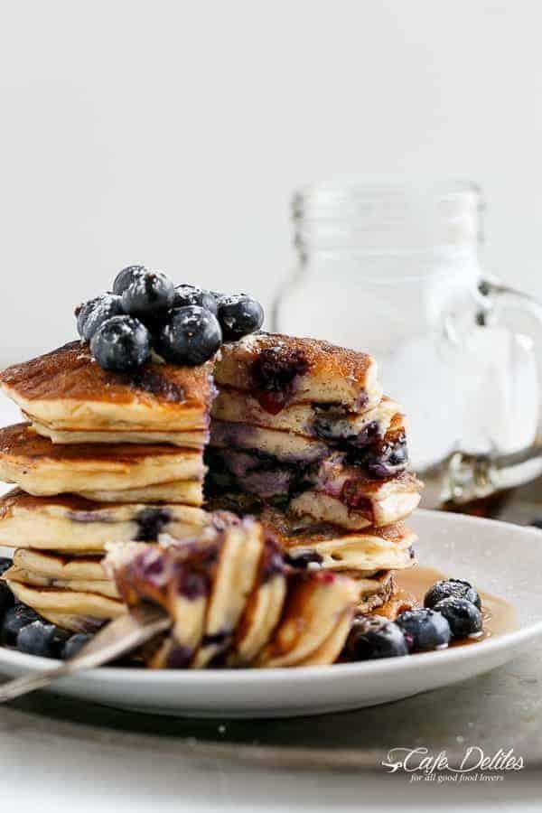 Blueberry Ricotta Pancakes | https://cafedelites.com