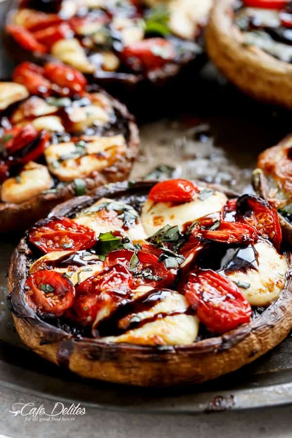Caprese Stuffed Garlic Butter Portobellos | https://cafedelites.com