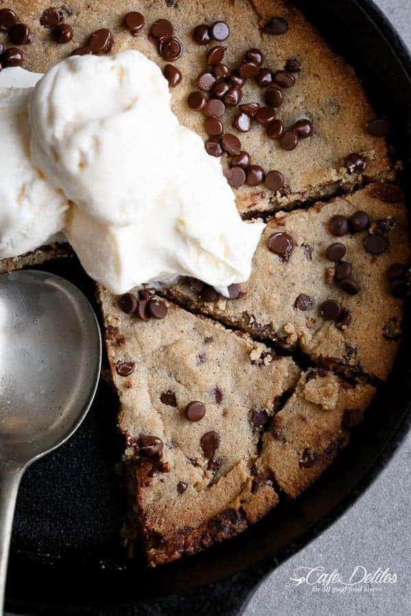 Low Carb Browned Butter Chocolate Chip Skillet Cookie
