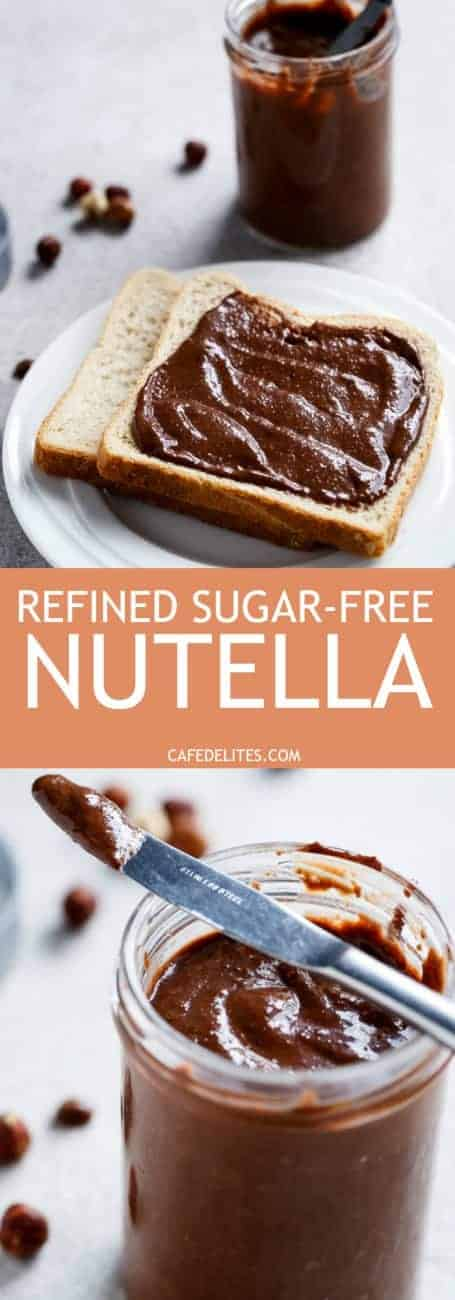 Refined Sugar-Free Nutella Spread! Enjoy it guilt free. Its rich, creamy and full of Nutella flavour, you won't want store bought Nutella again! | https://cafedelites.com