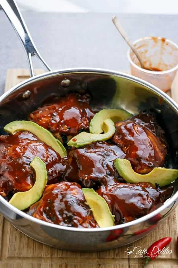 Barbecue Buffalo Chicken Thighs with Avocado | https://cafedelites.com