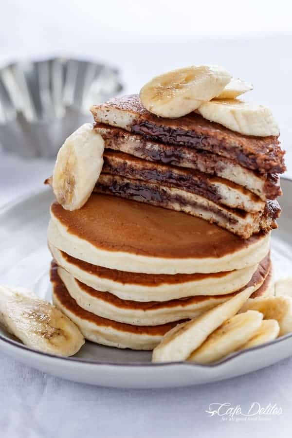 Nutella Stuffed Banana Pancakes | http://cafedelites.com