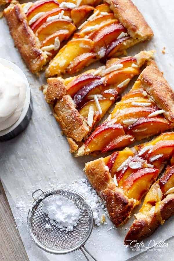Almond Peach Pie + Vanilla Bean Mascarpone Cream | https://cafedelites.com