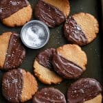 Salted Chocolate Dipped Peanut Butter Cookies (Low Carb)