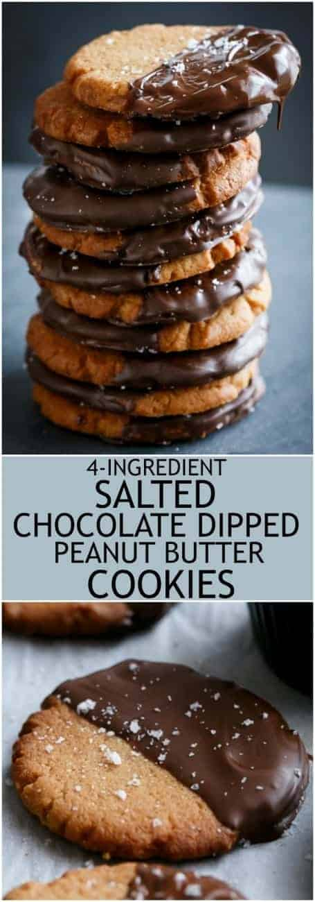 4 ingredient Salted Chocolate Dipped Peanut Butter Cookies! 50 seconds to mix, 10 minutes to bake and 2 minutes to eat a whole tray full! | https://cafedelites.com