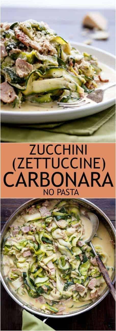 Zucchini (Zettuccine) Carbonara #LowCarb #NoPasta #GlutenFree | https://cafedelites.com