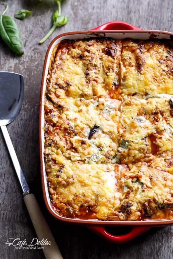 Sausage Eggplant Lasagna With Ricotta Pesto | http://cafedelites.com