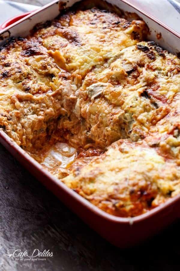 Sausage Eggplant Lasagna With Ricotta Pesto | https://cafedelites.com