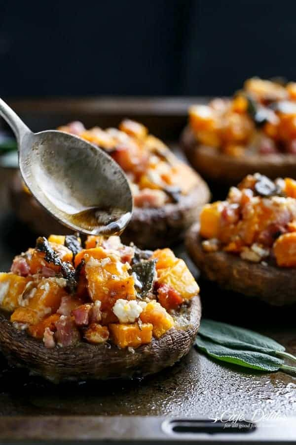 Pumpkin & Bacon Stuffed Portobellos with Browned Butter Sage | http://cafedelites.com