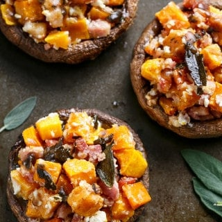 Pumpkin & Bacon Stuffed Portobellos with Browned Butter Sage | https://cafedelites.com