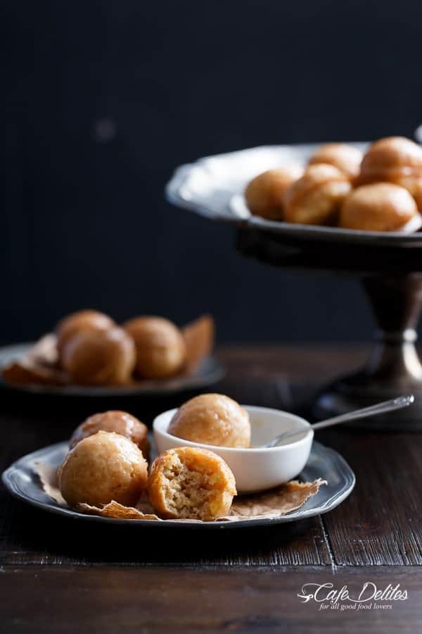 Maple Glazed Apple Fritter Donut Holes   https://cafedelites.com