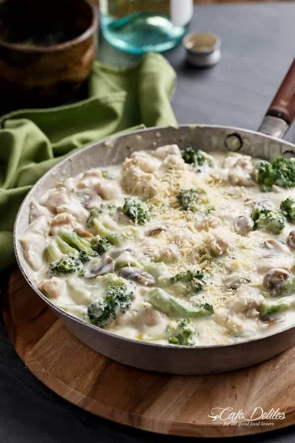 Chicken and Mushrooms in a Creamy White Wine Sauce | https://cafedelites.com