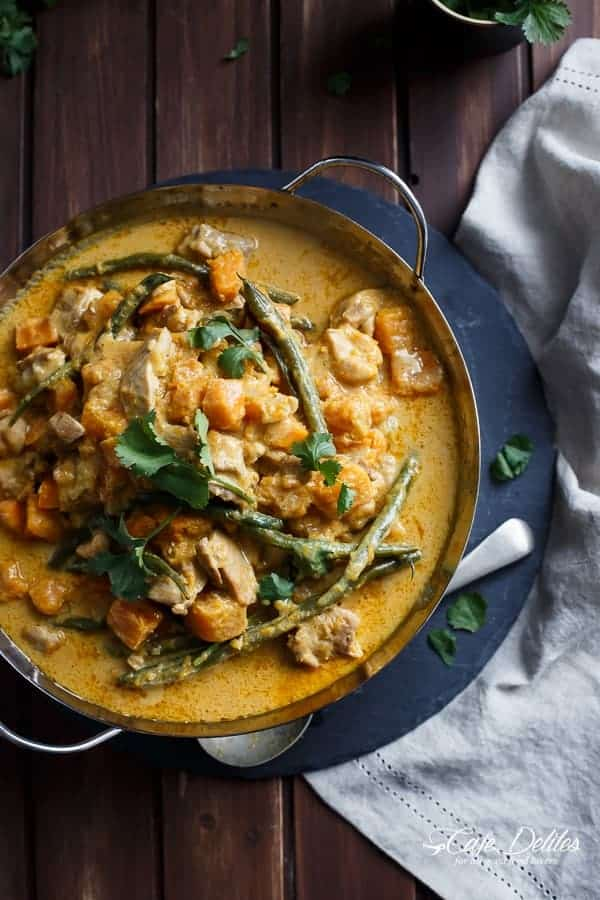 Chicken and Butternut Pumpkin Korma Curry | https://cafedelites.com