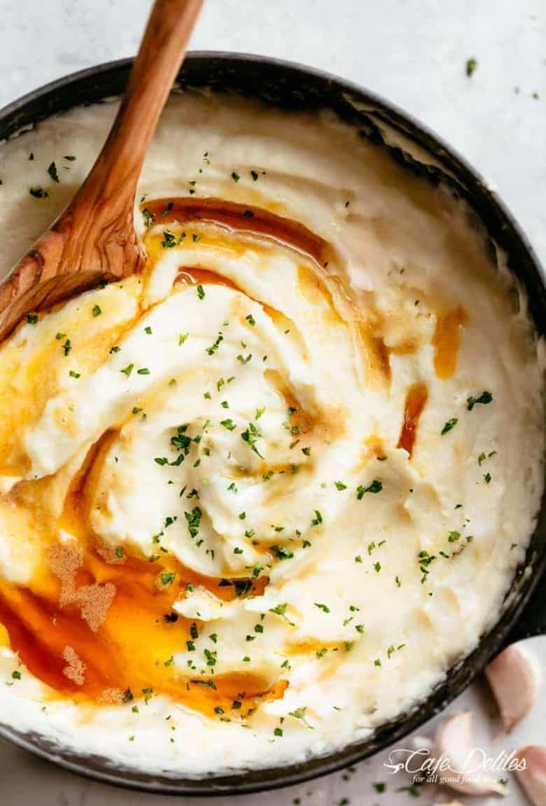 Garlic and Parmesan Browned Butter Mashed Potatoes | https://cafedelites.com