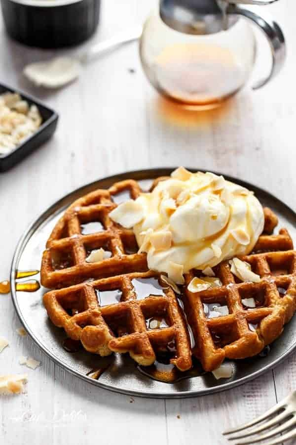 Coconut Cream Pie Waffles | https://cafedelites.com