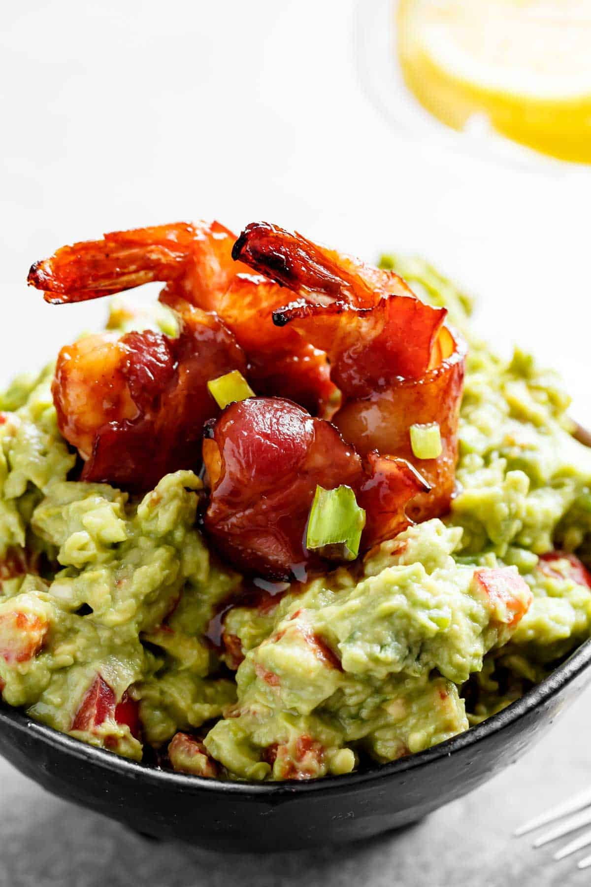 Guacamole served with bacon wrapped shrimp | cafedelites.com