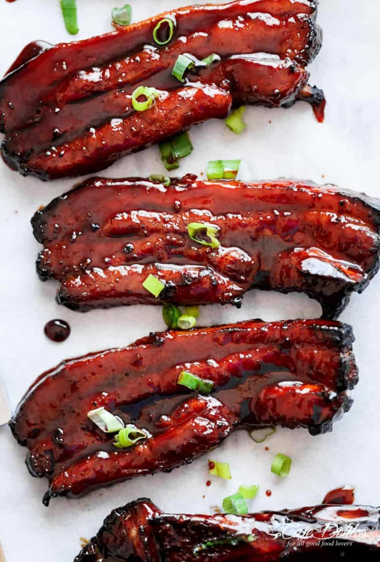 Sticky Chinese Barbecue Pork Belly (Char Siu) - Cafe Delites