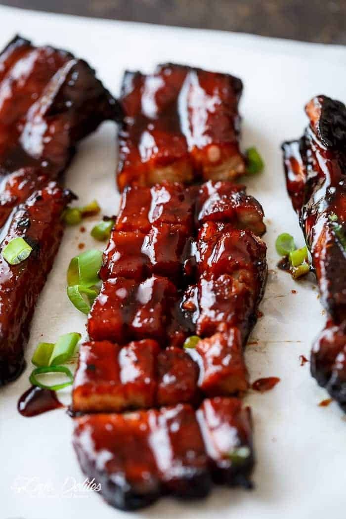 Sticky Chinese Barbecue Pork Belly Ribs (Char Siu) | https://cafedelites.com