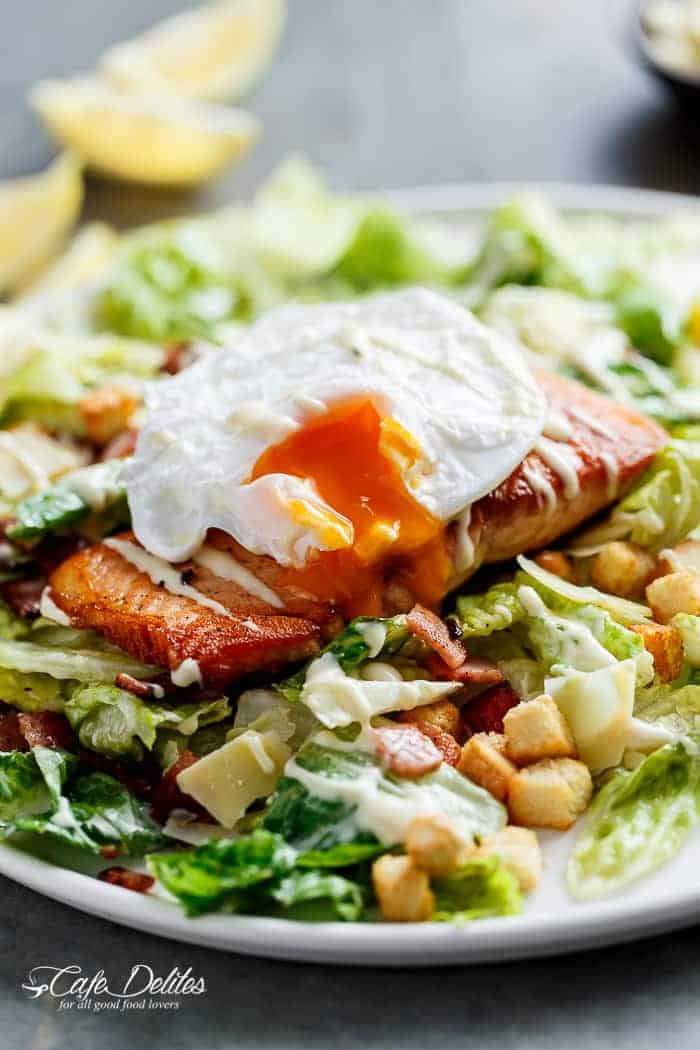 Crispy Pan Fried Salmon Meets Caesar Salad For A Twist On The Traditional Easy To