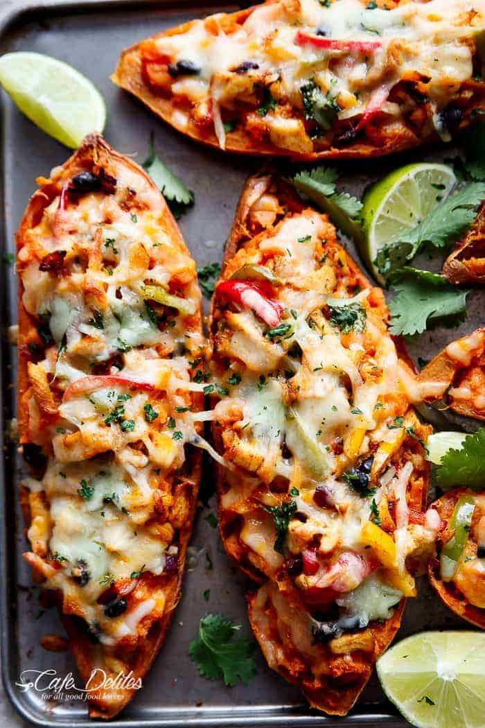 Twice Baked Chicken Fajita Sweet Potatoes | https://cafedelites.com
