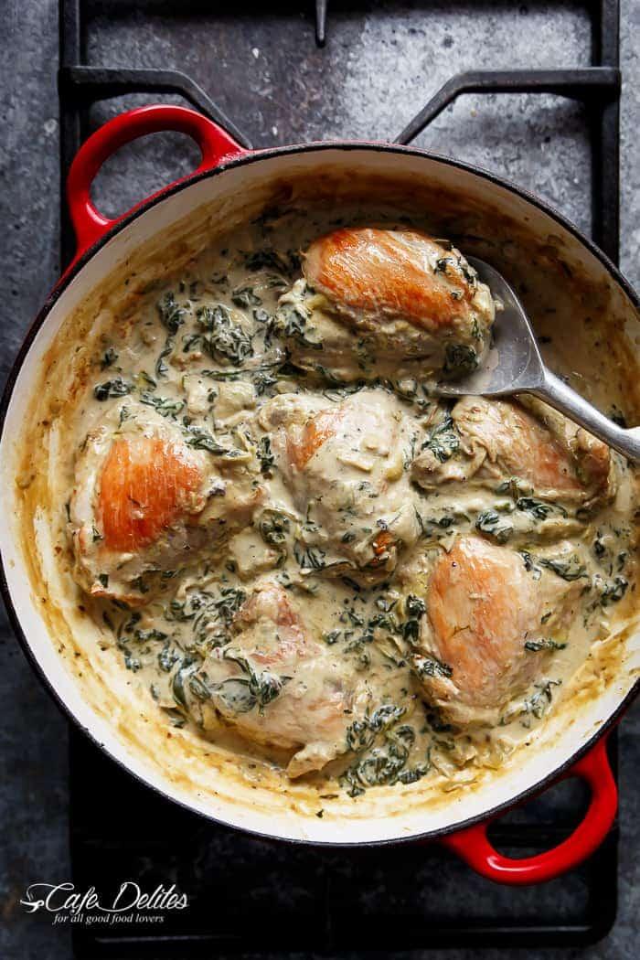 Creamy Spinach Artichoke Chicken Thighs Cafe Delites