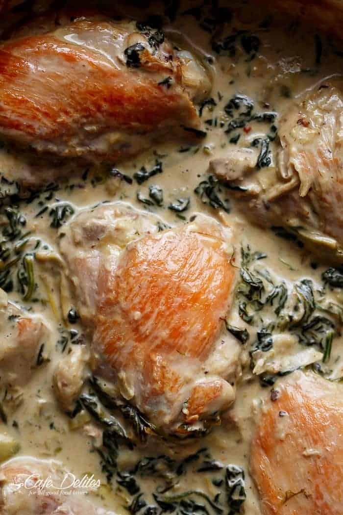 Creamy Spinach Artichoke Chicken Thighs | https://cafedelites.com