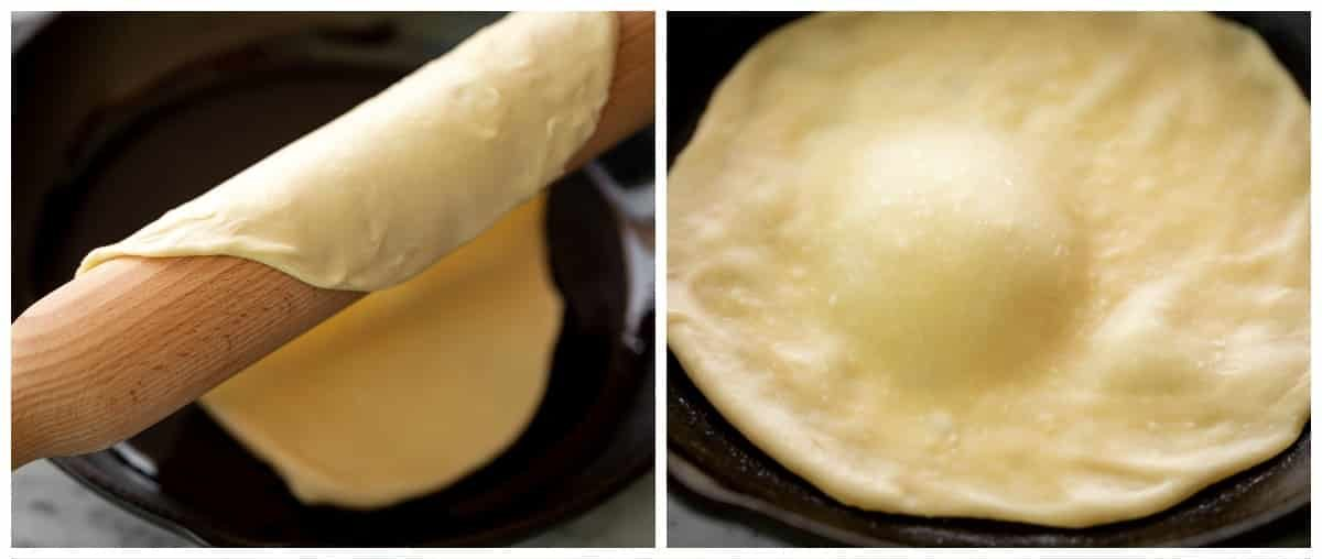 cooking flatbreads in a pan