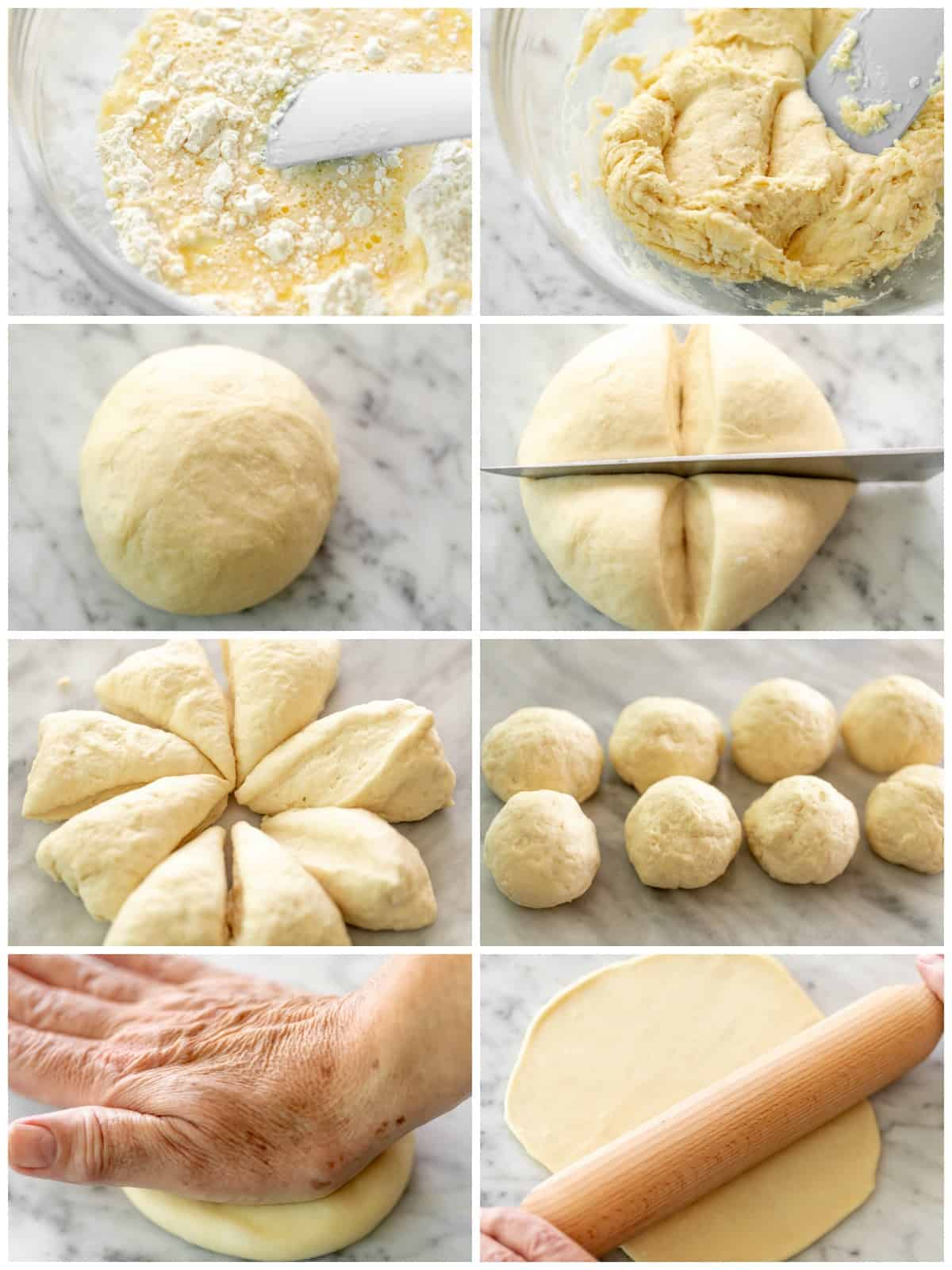 How to make flatbreads in a collage wth steps to make the dough and roll it out