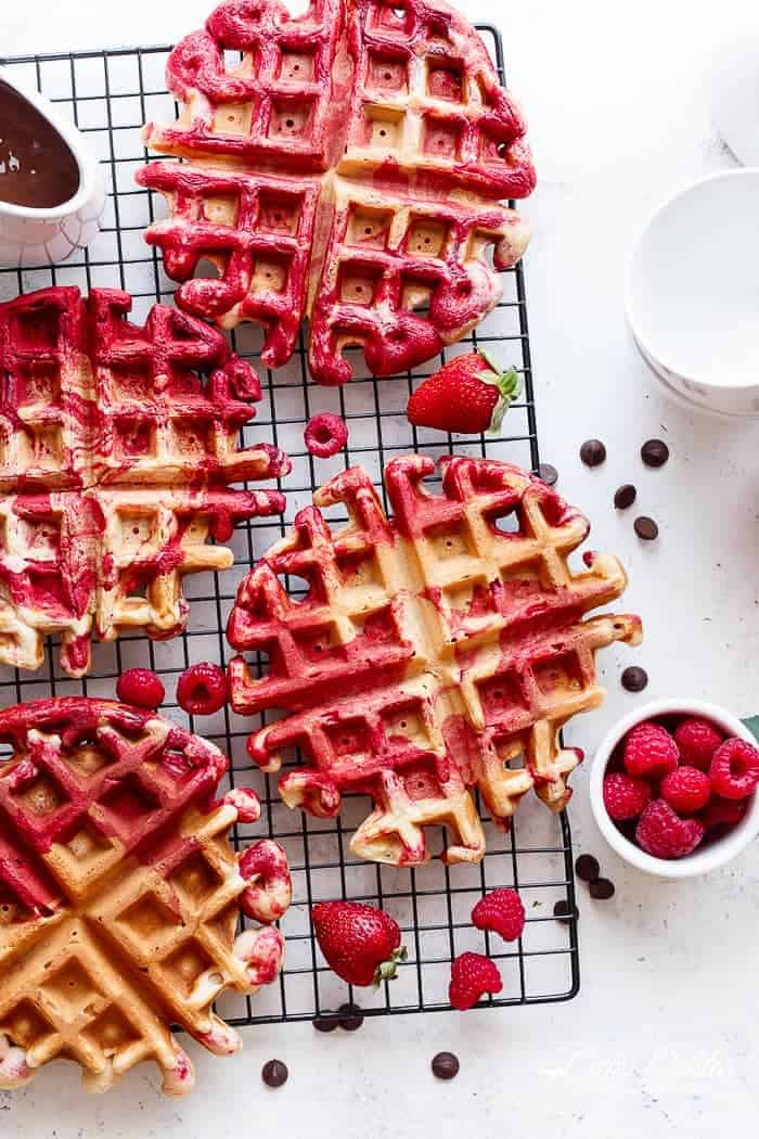Red Velvet Marbled Waffles | https://cafedelites.com