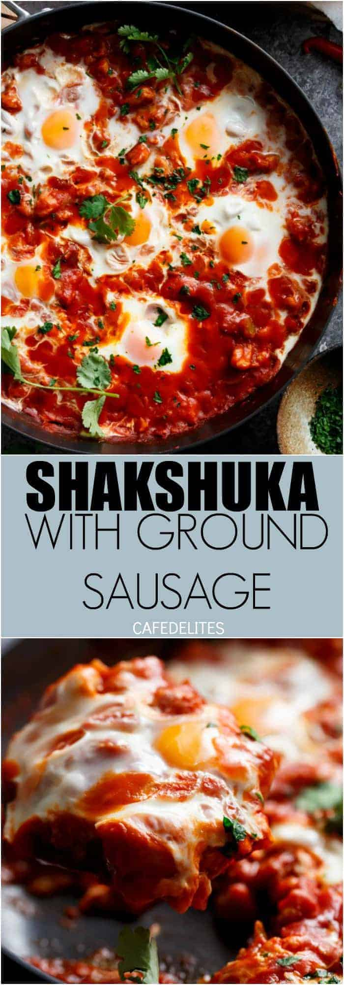 Eggs In Tomato Sauce (Shakshuka): thick, runny yolk meets rich tomato sauce. This is some good, fiery comfort food | https://cafedelites.com